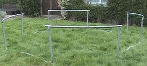 début du montage du trampoline