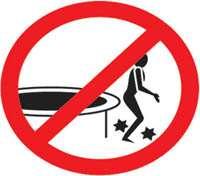 dessin ne pas sauter du trampoline